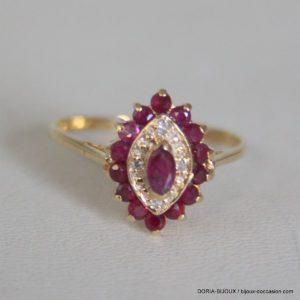 Bague Vintage  Or 18k 750  Rubis Diamants 1.8grs -52