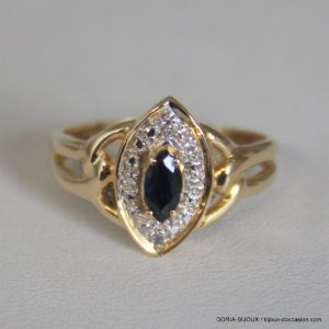 Bague Vintage Or 750 Saphirs 3grs -54