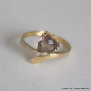 Bague Vintage Or 18k 750 Quartz Brun  2.5grs - 54
