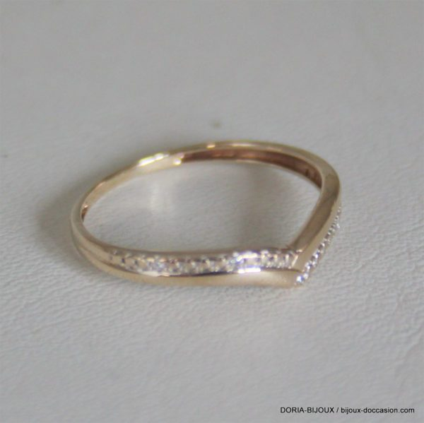 "Bague "" V""Or 18k Diamants- 0.8grs -50"