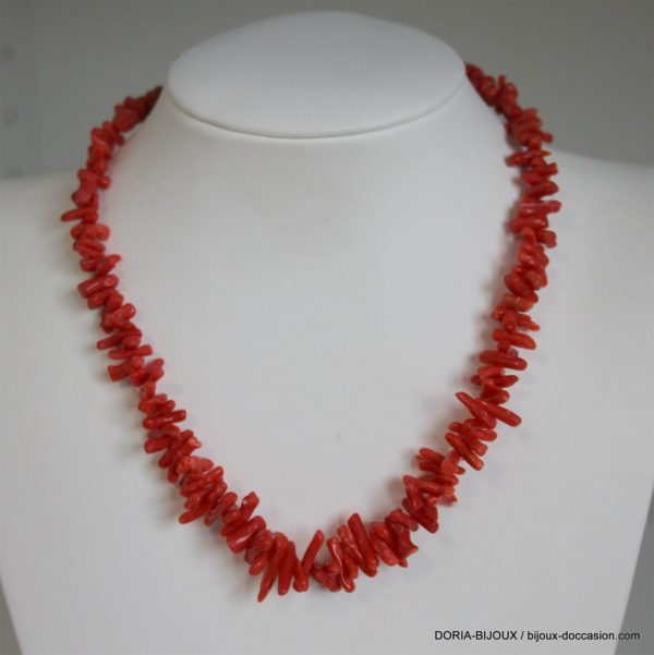 Collier Fermoir Or 18k Et Corail  Rouge - 40cm