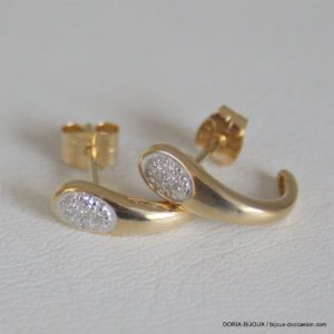 Boucles D'oreilles Or 18k, 750 Diamants - 1.4grs