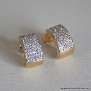 Boucles D'oreilles Or 18k, 750 Diamants - 3.6grs