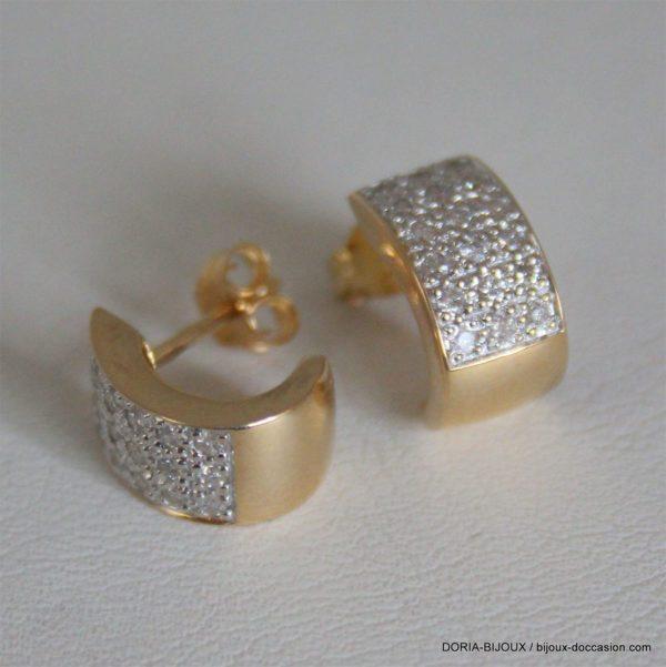 Boucles D'oreilles Or 18k, 750 Diamants - 3.6grs