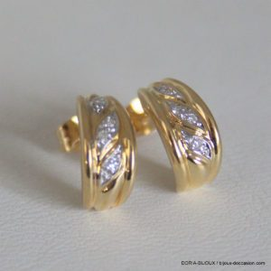 Boucles D'oreilles Or 18k, 750 Diamants - 2.7grs