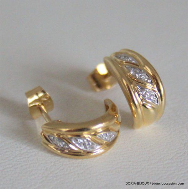 Boucles D'oreilles Or 18k, 750 Diamants - 2.7grs