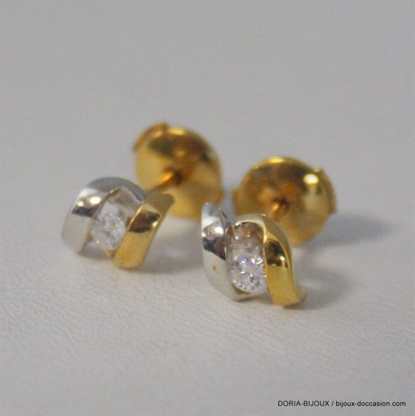 Boucles D'oreilles Or Bicolore 750 - Diamants - 1.6g