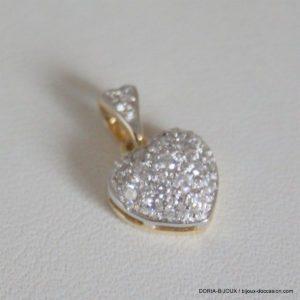 Pendentif Coeur Or 18k Pavage 18 Diamants - 1.8grs
