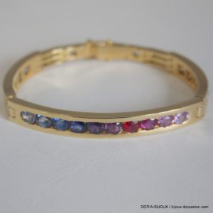 Bracelet Or 18k, 750/000 Pierres De Couleurs 40 Grs