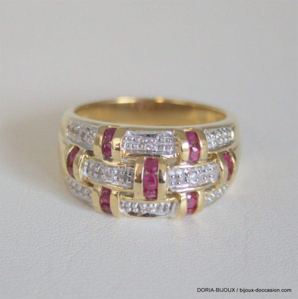 Bague Or 18k 750  Rubis & Diamants 10.6grs -60