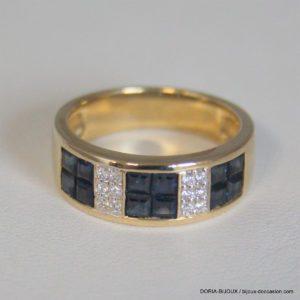 Bague Or 750 Saphirs & Diamants 6grs -54