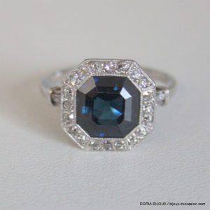 Bague Vintage Gris Or 750 Saphir & Diamants - 4.1grs
