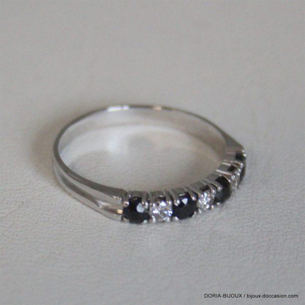 Bague Demi Alliance Saphir Diamants Or Gris 750-