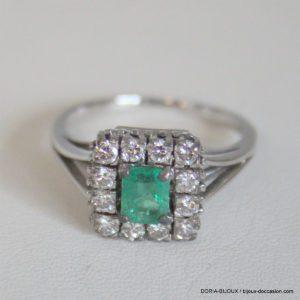 Bague Vintage Or Gris 750 Emeraude Diamants -6grs