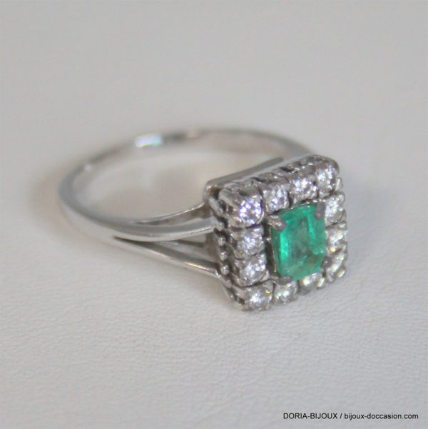 Bague Vintage Or Gris 750 Emeraude Diamants -6grs