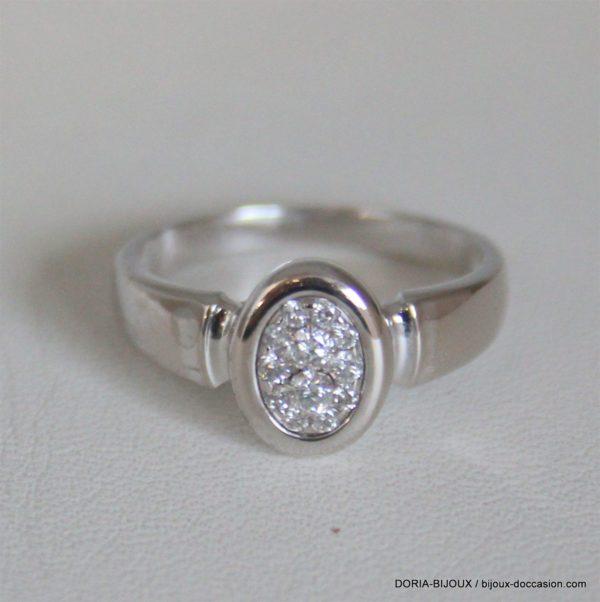Bague Or Gris 18k, 750 Diamants -3grs -53