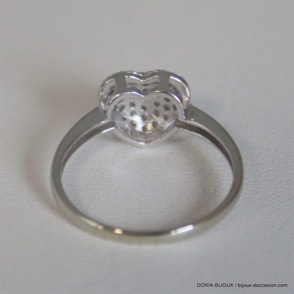 Bague Coeur Or Gris 750 Pavage Diamants - 2.2grs -54