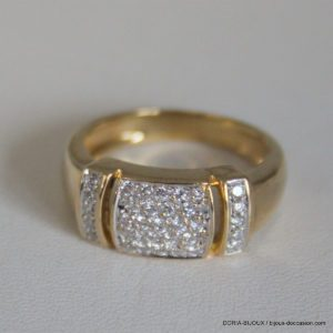 Bague Or 18k 750 Pavage Diamants - 5.8grs -54