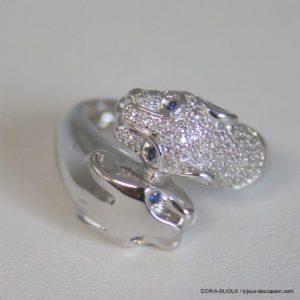 Bague Têtes Guepard 18k 750 Diamants - 9grs -54
