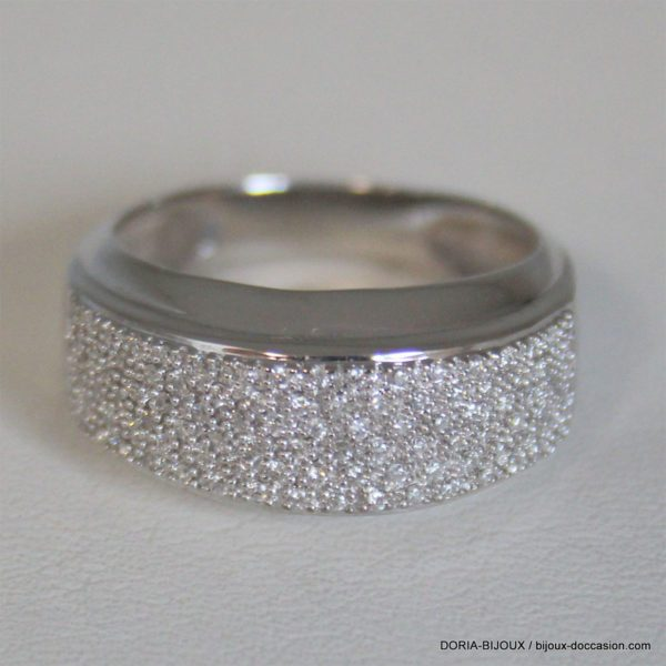 Bague Or Gris 18k 750 Pavage Diamants - 5.99grs -57