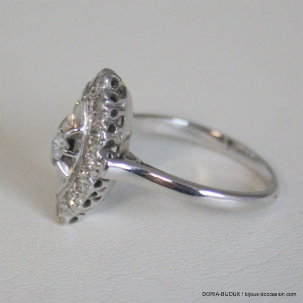 Bague Or Gris 18k 750 Marquis Diamants - 4.2grs -55