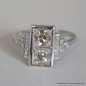 Bague Vintage Or Gris 18k 750 Diamants - 4.2grs -60