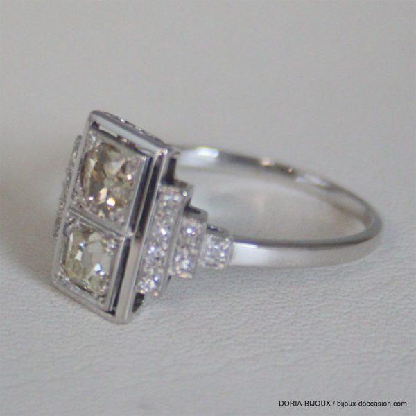 Bague Vintage Or Gris 18k 750 Diamants - 4.2grs -60
