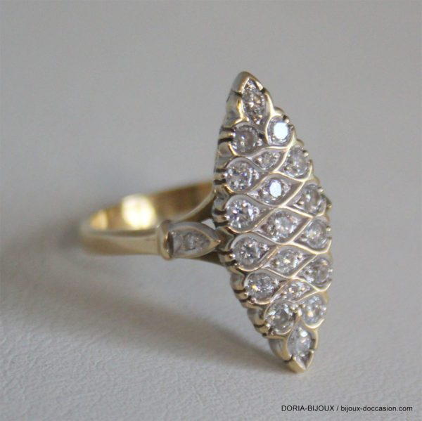 Bague Or 18k 750 Marquise Diamants - 6.3grs -54