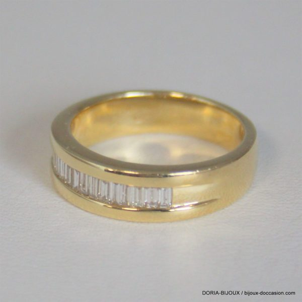 Bague Demi Alliance Or 18k Diamants- 8.10grs -56