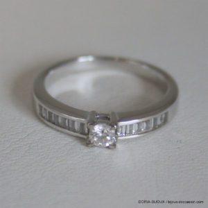 Bague Solitaire Accompagné Or 18k Diamants- 3.2grs