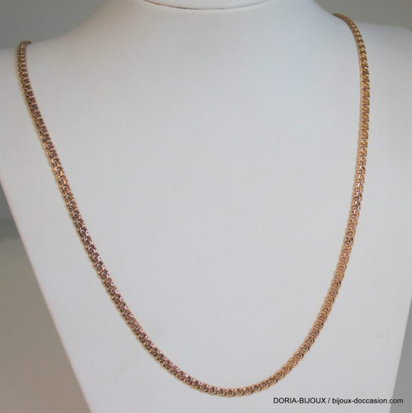 Collier Or Maille Fantaisie Or Rose, Longueur 72cm L 24.43 Grs