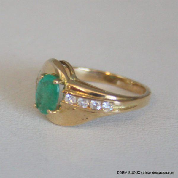 Bague Or Émeraude Diamant 10mm No 51 4.81grs