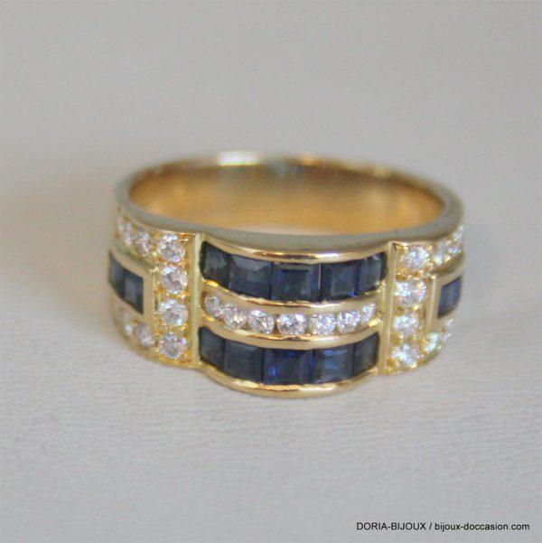 Bague Or Saphir Diamant 8mm No 52 5.48grs