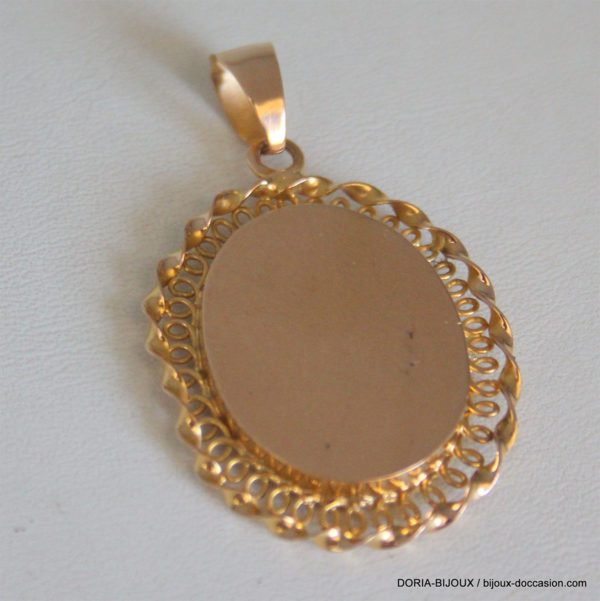 Médaille Or Et Emaux 750/000 Vierge 37x27mm 8.14grs
