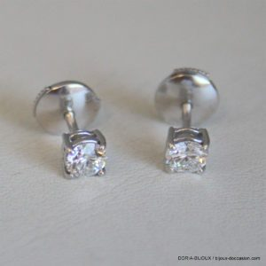 Boucle D'oreille Or  Blanc Diamants 0.33 Carat 1.76g