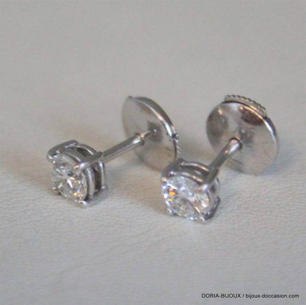 Boucle D'oreille Or  Blanc Diamants 0.33 Carat 1.76g