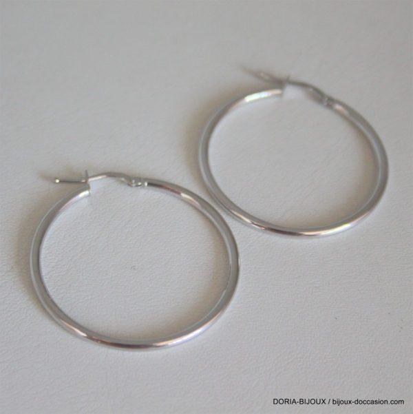 Créole Or Blanc Diametre 30mm Fil 2,00mm 1.61grs