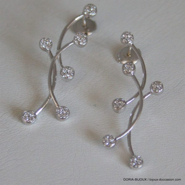 Boucle D'oreille Or Blanc Diamants 0.015 Carat X 48