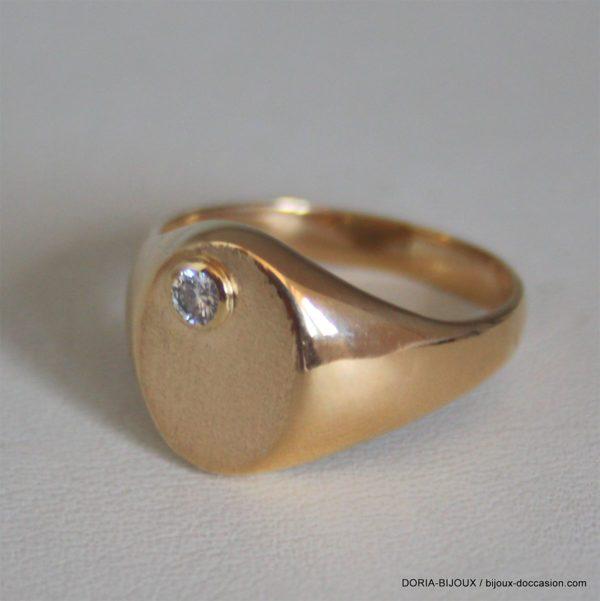 Bague Chevalière Or 18k 750  Diamants -8.40grs