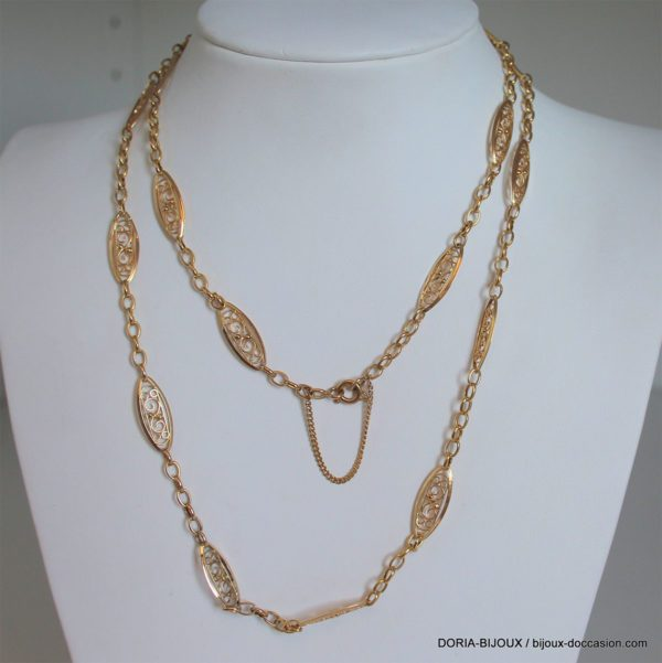 Collier Maille Or 18k 750/000 Maille Filigrane 13.94
