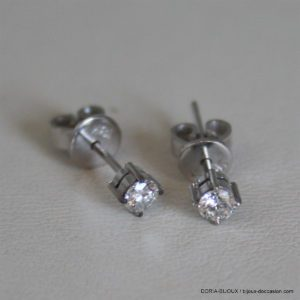Boucle D'oreille Or Blanc Diamants 0.12 Carat X 2