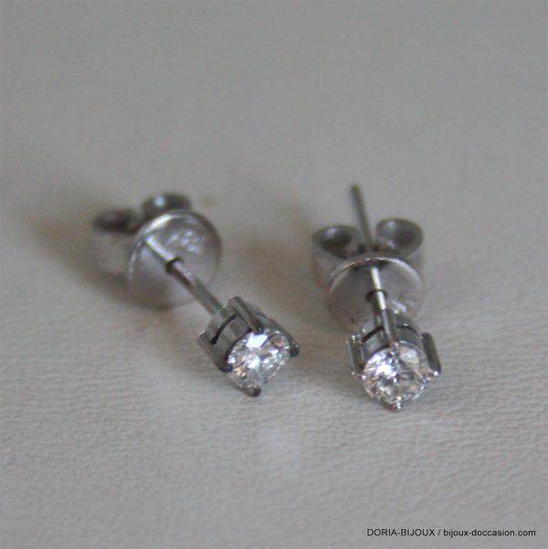 Boucle D'oreille Or Blanc Diamants 0.12 Carat X 2
