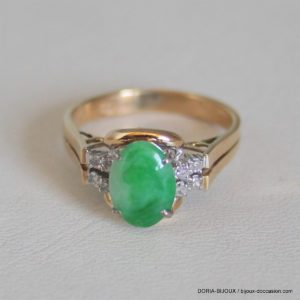 Bague Or  14k 585/000 3.74 Grs  Pierre Jade Diamants