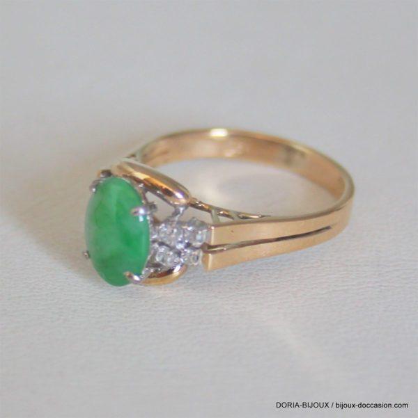 Bague Or  14k 585/000 3.74 Grs  Pierre Jade Diamants