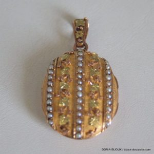 Médaillon Porte Photo Vintage Or 18k 750/000  Perles