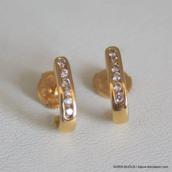 Boucle D'oreille Or 18k 750/000  2.29grs12 Diamants