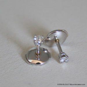 Boucle D'oreille Or Blanc 18k 750/000 Diamants 0.14