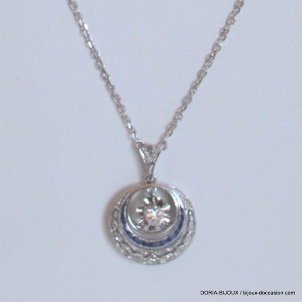Collier Or Blanc Vintage Diamant Saphir  8.63 Grs
