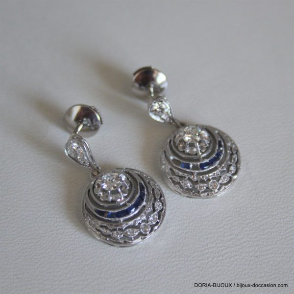 Boucle D'oreille Or Blanc Vintage Diamant Saphir