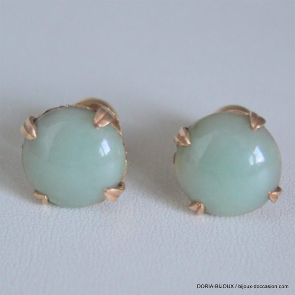 Boucle D'oreille Or Jaune 18k 750/000 4.20 Grs Jade